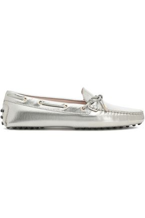 TOD'S Bow-embellished metallic leather moccasins