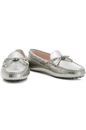 TOD'S Bow-embellished metallic leather moccasins