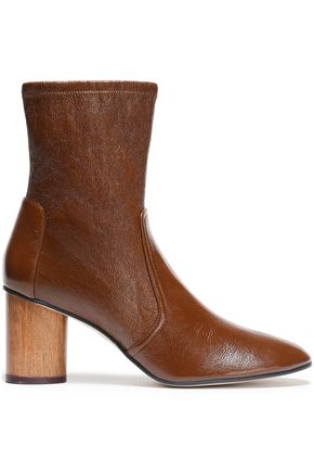 STUART WEITZMAN Smooth and cracked-leather ankle boots