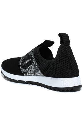 JIMMY CHOO Crystal-embellished mesh and suede sneakers