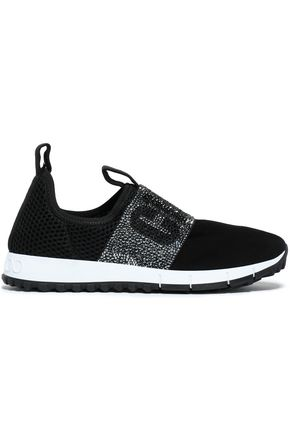 JIMMY CHOO Crystal-embellished mesh and suede sneakers