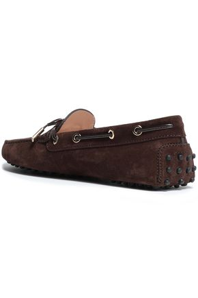 TOD'S Bow-embellished leather-trimmed suede moccasins
