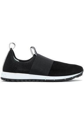 JIMMY CHOO Mesh and suede-paneled slip-on sneakers
