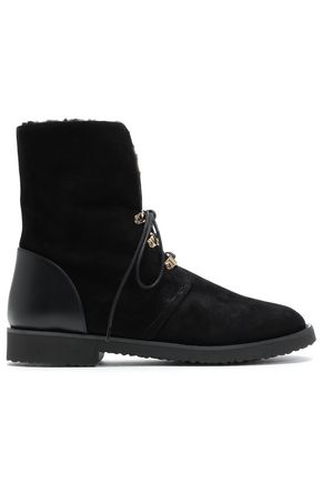 GIUSEPPE ZANOTTI Shearling-lined suede ankle boots