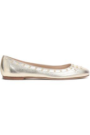 TOD'S Studded metallic leather ballet flats