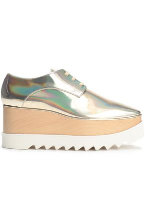 STELLA McCARTNEY Iridescent mirrored faux leather platform brogues
