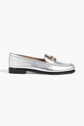 SALVATORE FERRAGAMO Embellished metallic leather loafers