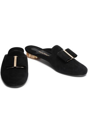 SALVATORE FERRAGAMO Bow-embellished suede slippers