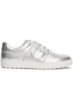 SALVATORE FERRAGAMO Metallic textured-leather sneakers
