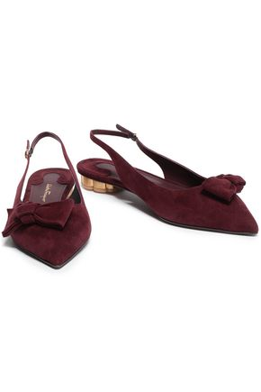 SALVATORE FERRAGAMO Bow-embellished suede point-toe flats