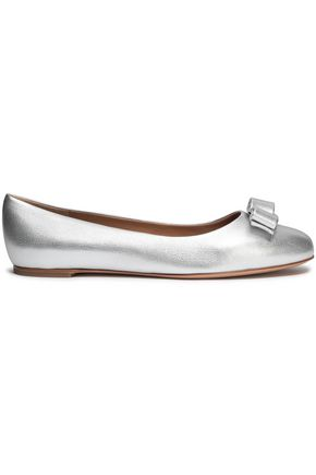 SALVATORE FERRAGAMO Varina bow-embellished metallic textured-leather ballet flats