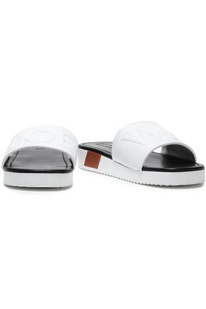 LOEWE Embroidered leather slides