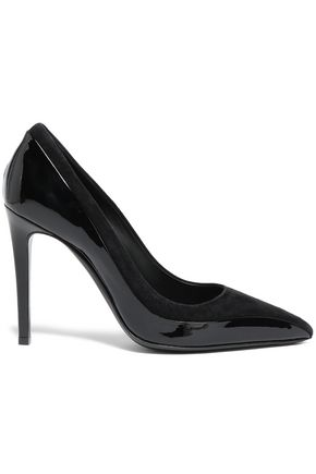 SALVATORE FERRAGAMO Patent-leather and suede pumps