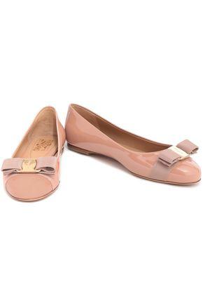 SALVATORE FERRAGAMO Bow-embellished patent-leather ballet flats