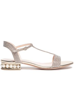 NICHOLAS KIRKWOOD Casati faux pearl-embellished Lurex sandals