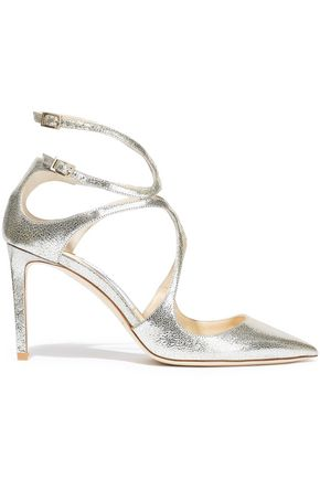 JIMMY CHOO Lancer 85 metallic cracked-leather pumps
