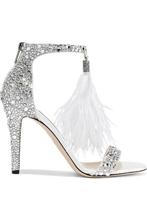 JIMMY CHOO Feather and crystal-embellished leather sandals
