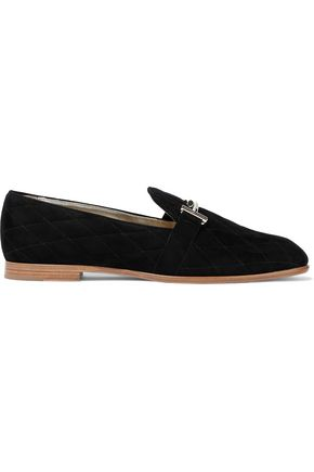 TOD'S Embellished quilted suede loafers