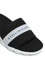 STELLA McCARTNEY Embroidered striped twill-paneled faux suede slides