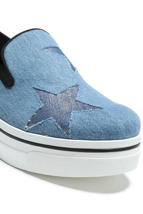 STELLA McCARTNEY Laser-cut denim and faux leather platform slip-on sneakers