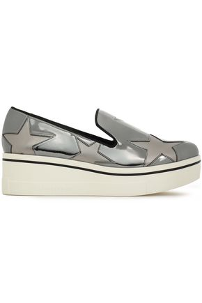 STELLA McCARTNEY Laser-cut mirrored faux leather slip-on sneakers
