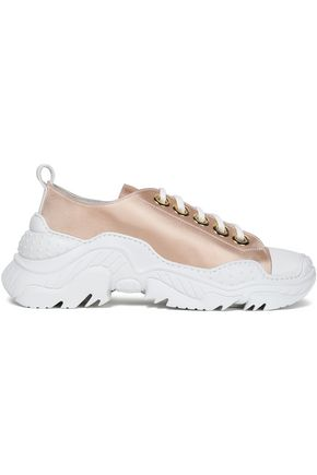 N°21 Leather-trimmed satin sneakers