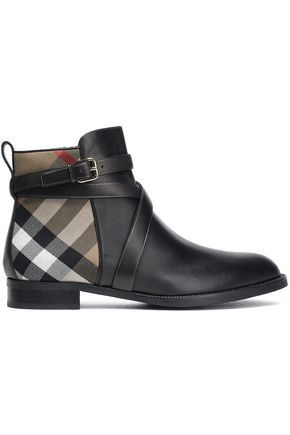 BURBERRY Leather and jacquard ankle boots