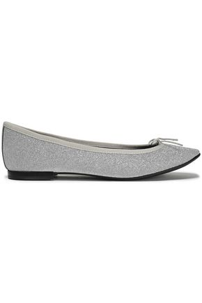 REPETTO Bow-embellished glittered leather ballet flats