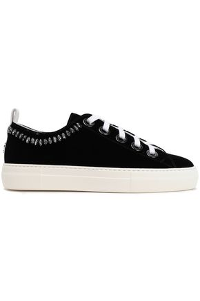 N°21 Crystal-embellished velvet sneakers