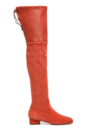 STUART WEITZMAN حذاء بعنق طويل فوق الركبة من الجلد الناعم مع أجزاء من الجلد