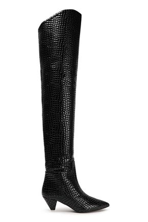 ATTICO Croc-effect patent-leather thigh boots