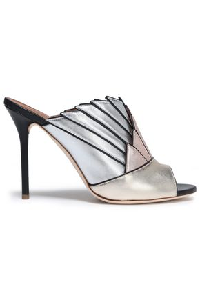 MALONE SOULIERS Pleated metallic color-block sandals