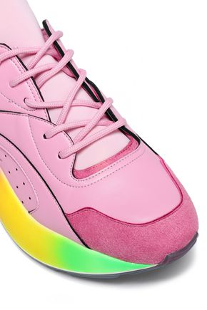 STELLA McCARTNEY Color-block faux leather and suede sneakers