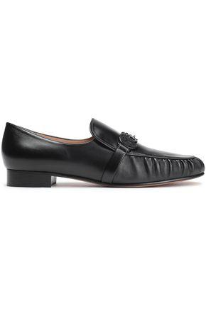 VALENTINO GARAVANI Calf hair-trimmed appliquéd leather loafers