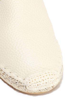 VALENTINO GARAVANI Rockstud Double pebbled-leather espadrilles