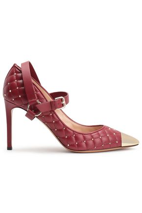 VALENTINO GARAVANI Rockstud Spike quilted leather Mary Jane pumps