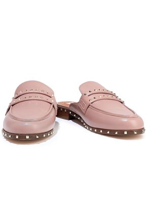 Valentino Slippers VALENTINO GARAVANI WOMAN SOUL ROCKSTUD LEATHER SLIPPERS ANTIQUE ROSE