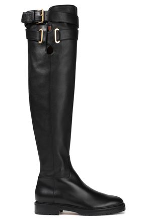 VALENTINO GARAVANI Buckle-detailed textured-leather over-the-knee boots