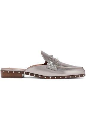 VALENTINO GARAVANI Soul Rockstud metallic leather slippers