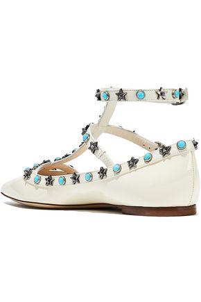 VALENTINO GARAVANI Star Studded patent-leather point-toe flats