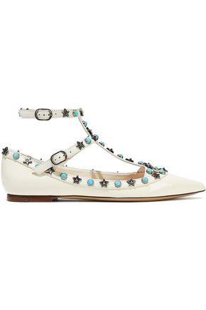 VALENTINO GARAVANI Star Studded patent-leather point-toe flats