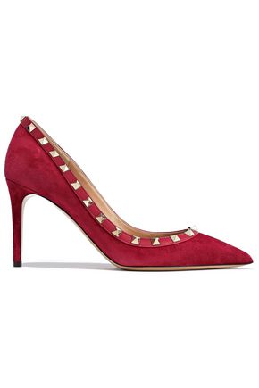 VALENTINO GARAVANI Rockstud leather-trimmed suede pumps