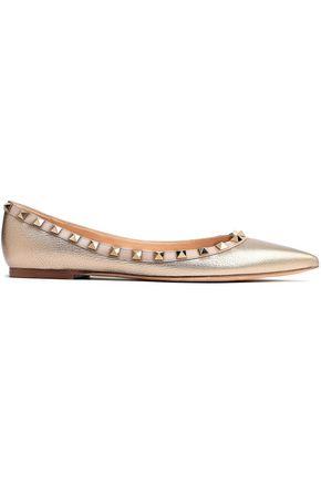 VALENTINO GARAVANI حذاء مسطح بطرف مدبب روكستاد من الجلد المحبب اللامع