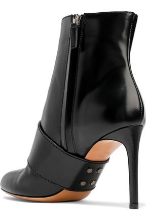 VALENTINO GARAVANI Bow-embellished glossed-leather ankle boots