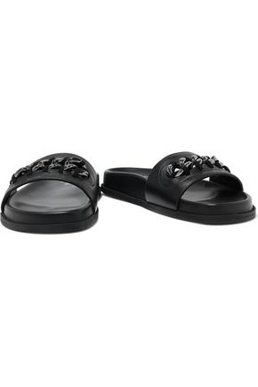 VALENTINO GARAVANI Chain-trimmed leather slides