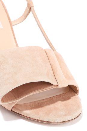 VALENTINO GARAVANI Bow-embellished suede slingback sandals