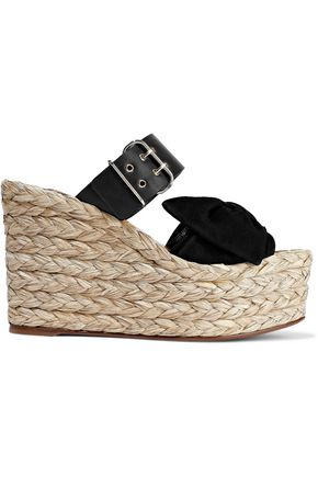 VALENTINO GARAVANI Bow-embellished suede and leather espadrille wedge mules