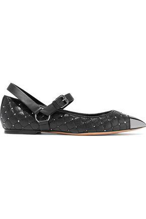 VALENTINO GARAVANI Rockstud quilted textured-leather point-toe flats