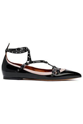 VALENTINO GARAVANI Love Latch matte and patent-leather point-toe flats