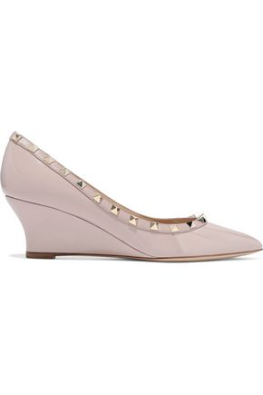 VALENTINO GARAVANI Rockstud patent-leather wedge pumps